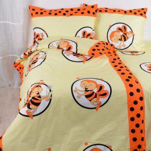 Povlečení bavlněné dětské Včelky oranžové TiaHome